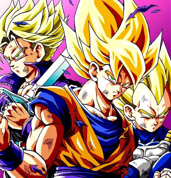 Super Saiyan trio. Drawn by: Youmg jijii. Found by: #SonGokuKakarot.