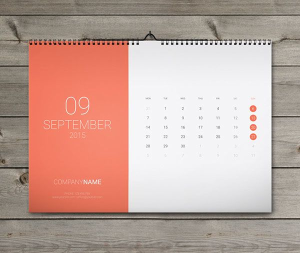 12 Sheets Monthly Wall Calendar 2015 Template W15 on Behance 月曆