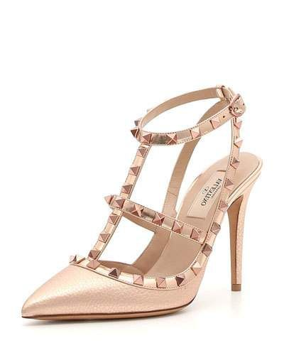 2e691b2849 Valentino Garavani Rockstud Metallic Leather 100mm Pumps - Rose Hardware
