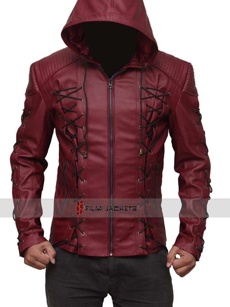 Arsenal Red Hood Leather Jacket