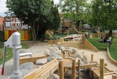 More at Kilburne Grange Adventure Playground, Camden, UK.  Very nice water play area.   Designed by Erect Architecture.