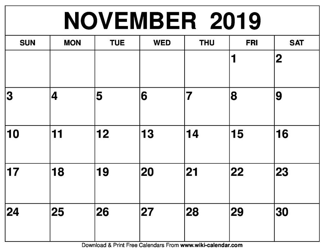 Get Printable Calendar Templates November
