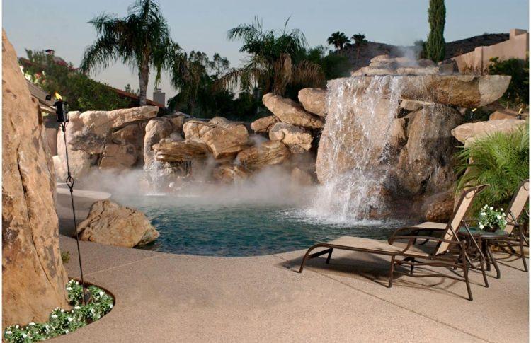 Garten Deko Idee   Ein Großer Wasserfall In Einem Pool