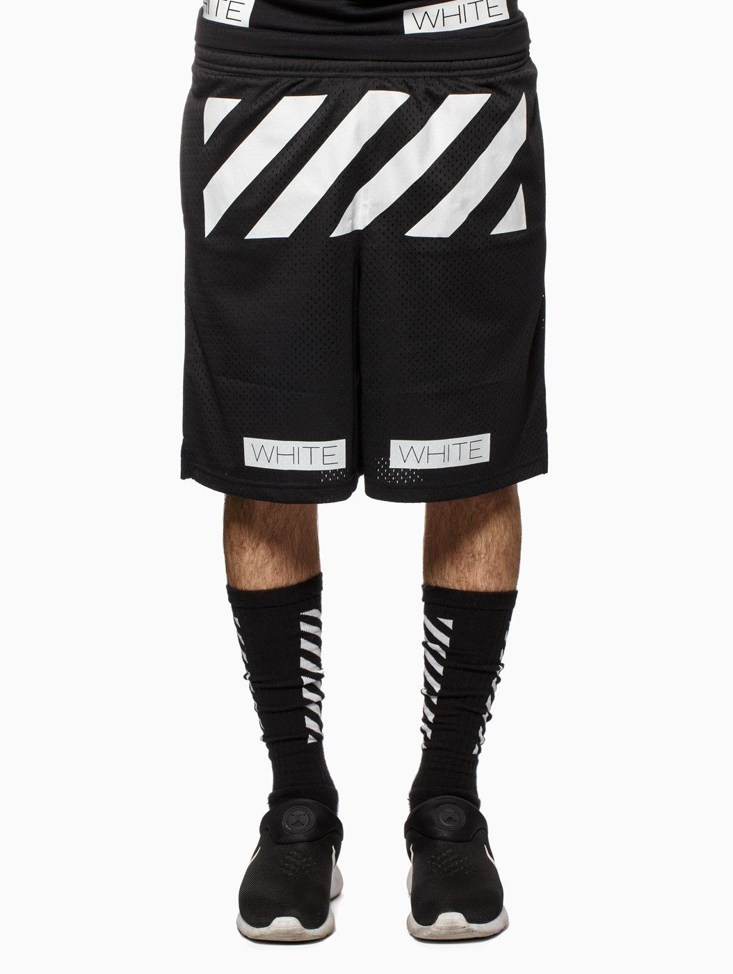 Striped walkshort from the S/S2015 Off-White c/o Virgil Abloh collection in black.