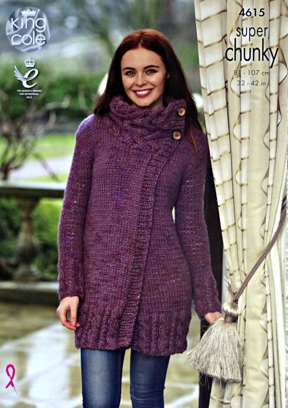 Womens Knitting Pattern K4615 Ladies Long Sleeve Long Coat with High ...