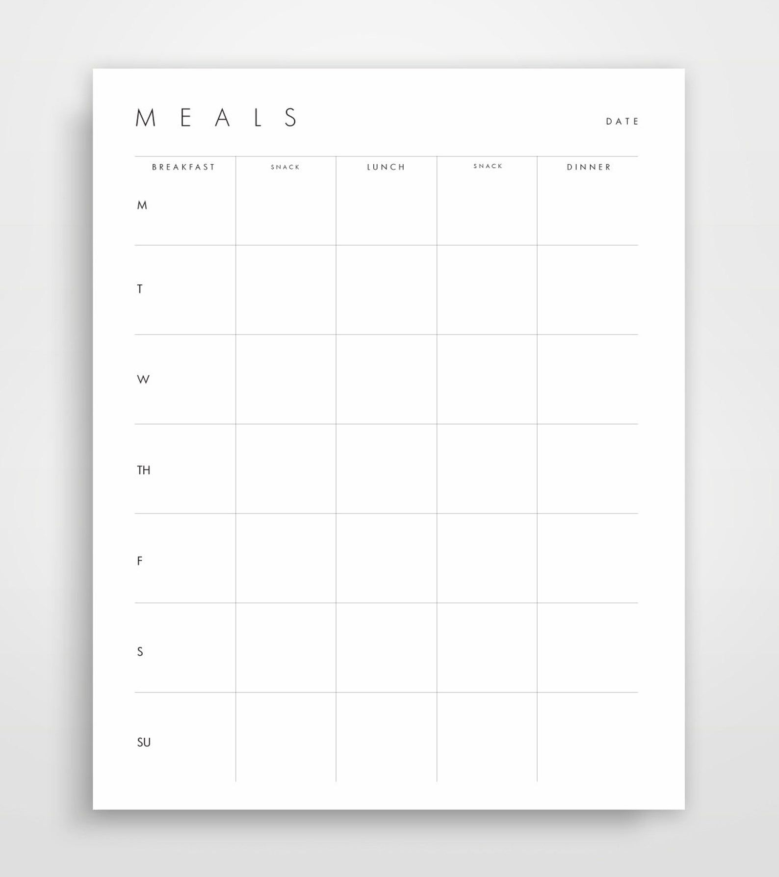 Meal Planner Grocery List Shopping List Shopping Planner