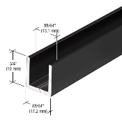 Sdcd12mbl Crl Matte Black 1 2 Fixed Panel Shower Door Deep U Channel 98 Shower Doors Shower Door Hardware Frameless Shower Doors Hardware