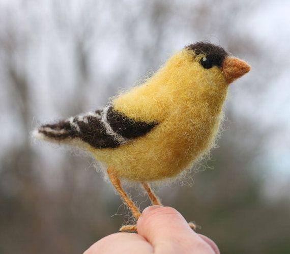 Goldfinch flying Needle Felted figure