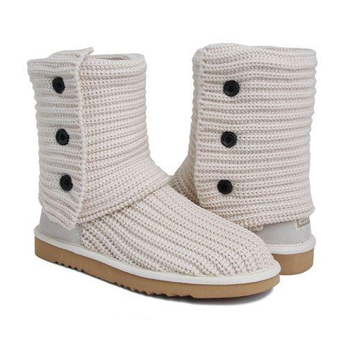 5d210f8e0d8 UGG Australia Womens 5819 Classic Cardy Knit Boots White [UGG 5819 ...