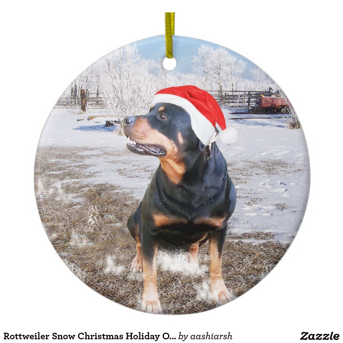 Rottweiler Snow Christmas Holiday Ornament Zazzle Com