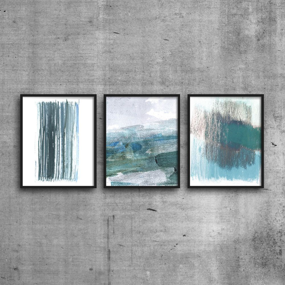 Abstract Seascape Watercolor Printable Set Of 3 Teal Blue Wall