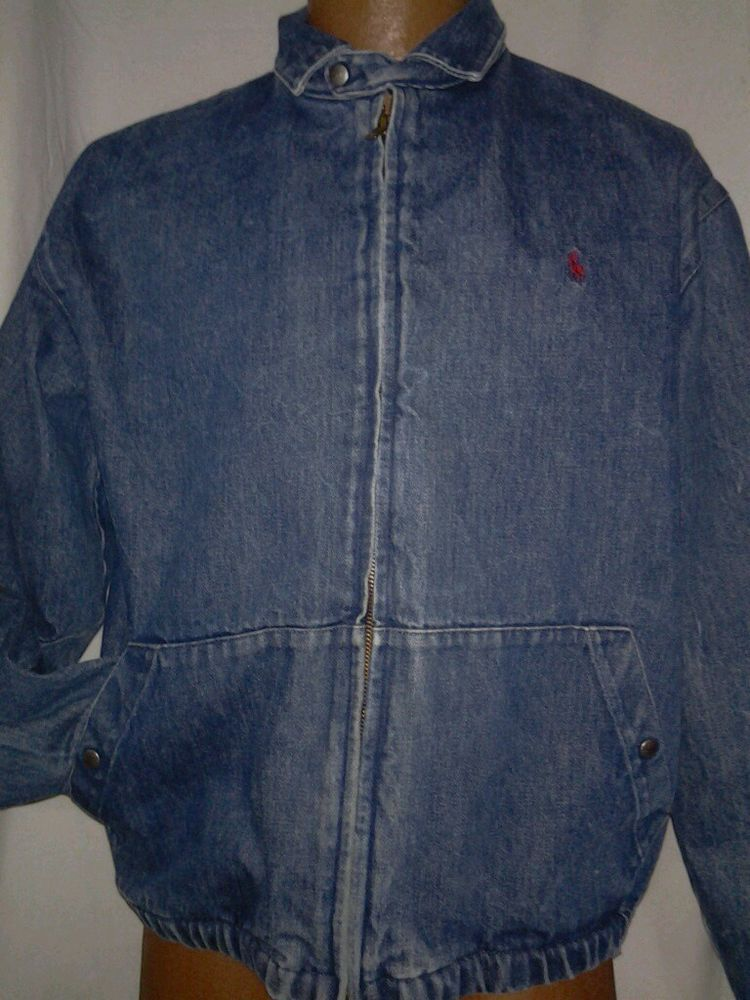 cbc65f77 Ralph Lauren Polo Denim Jacket Mens M Vintage USA Blue Jean Bomber Style # PoloRalphLauren #BasicJacket