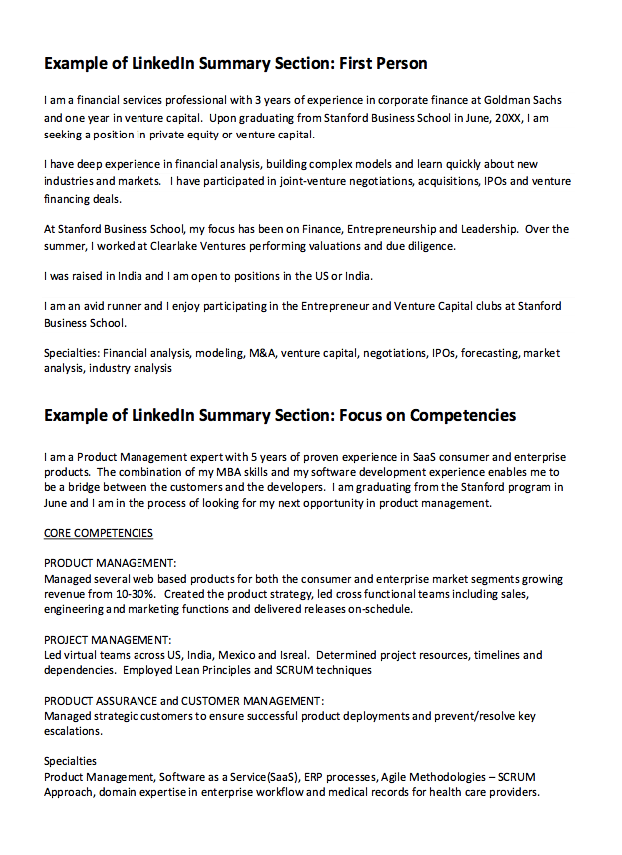 linkedin summary resume example    resumesdesign com  linkedin