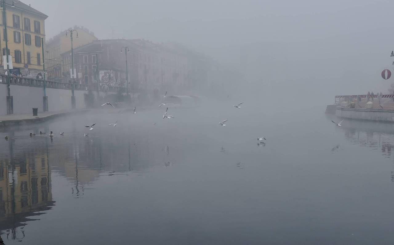 La Darsena avvolta dalla nebbia