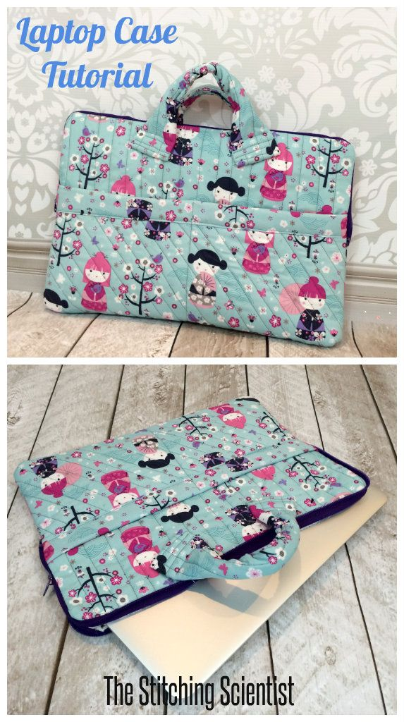 Free Sewing Pattern For A Laptop Case This Is So Cute I Could Use New Would Just Need To Figure Out How Add Longer Adjule Strap