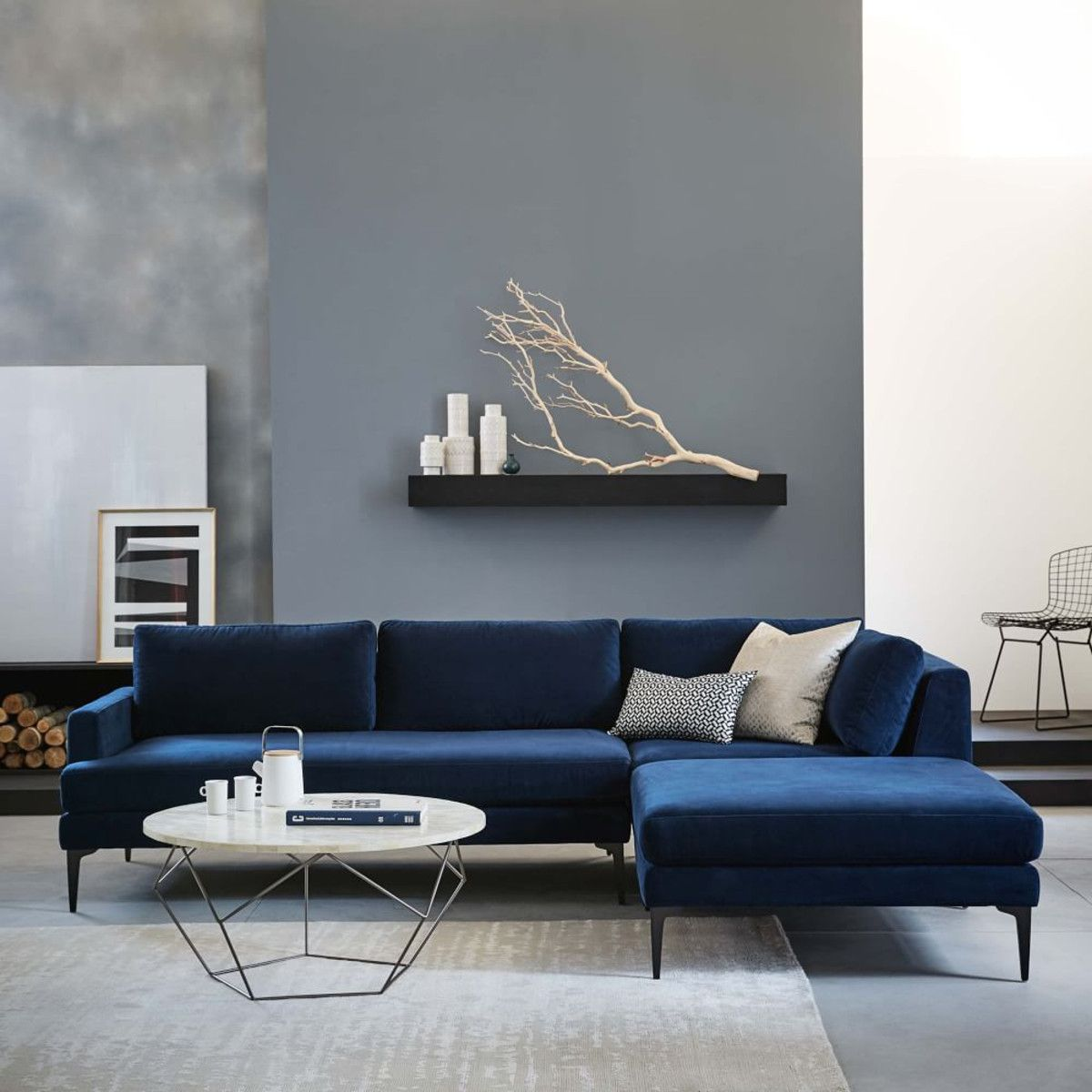 Andes 3 Piece Chaise Sectional Ink Blue Blue Sofas Living Room Blue Couch Living Room Blue Sofa Living