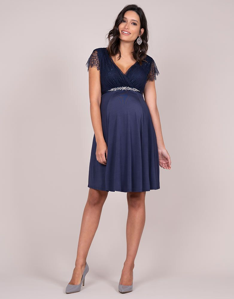 ff794c5281 Navy Blue Embellished Maternity Cocktail Dress in 2019
