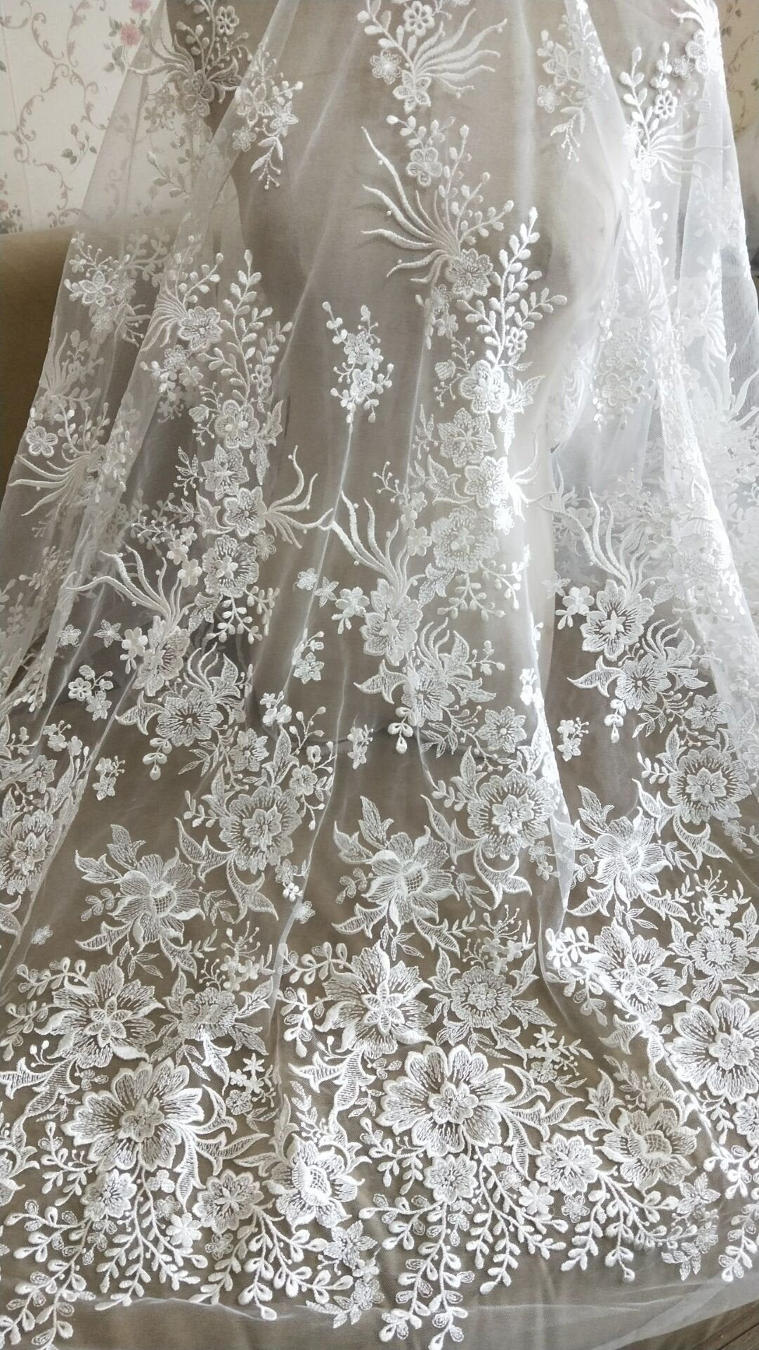 Bridal Lace Fabric Embroidery Flower Lace Tulle Lace Fabric 51 inches Width for Wedding Dress Bride Gown