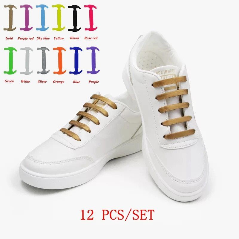 12pcs Lazy Elastic Silicone Shoelaces No Tie Running Sneakers Strings Shoe Laces
