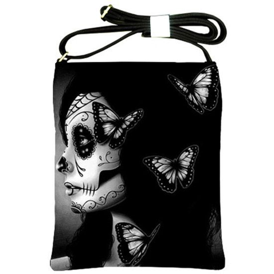 Flutter By Shoulder Sling Strap Bag  Day of the by NeverDieArt, $39.99