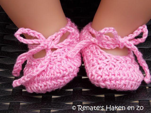 Renate's Haken en zo: Patroon Ballerina schoentjes Baby Born pop
