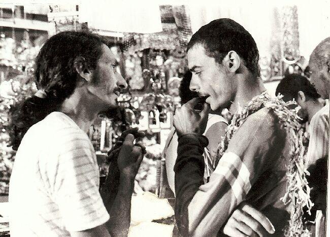 Edgard Navarro e Bertrand Duarte durante as gravações de Superoutro (1989)