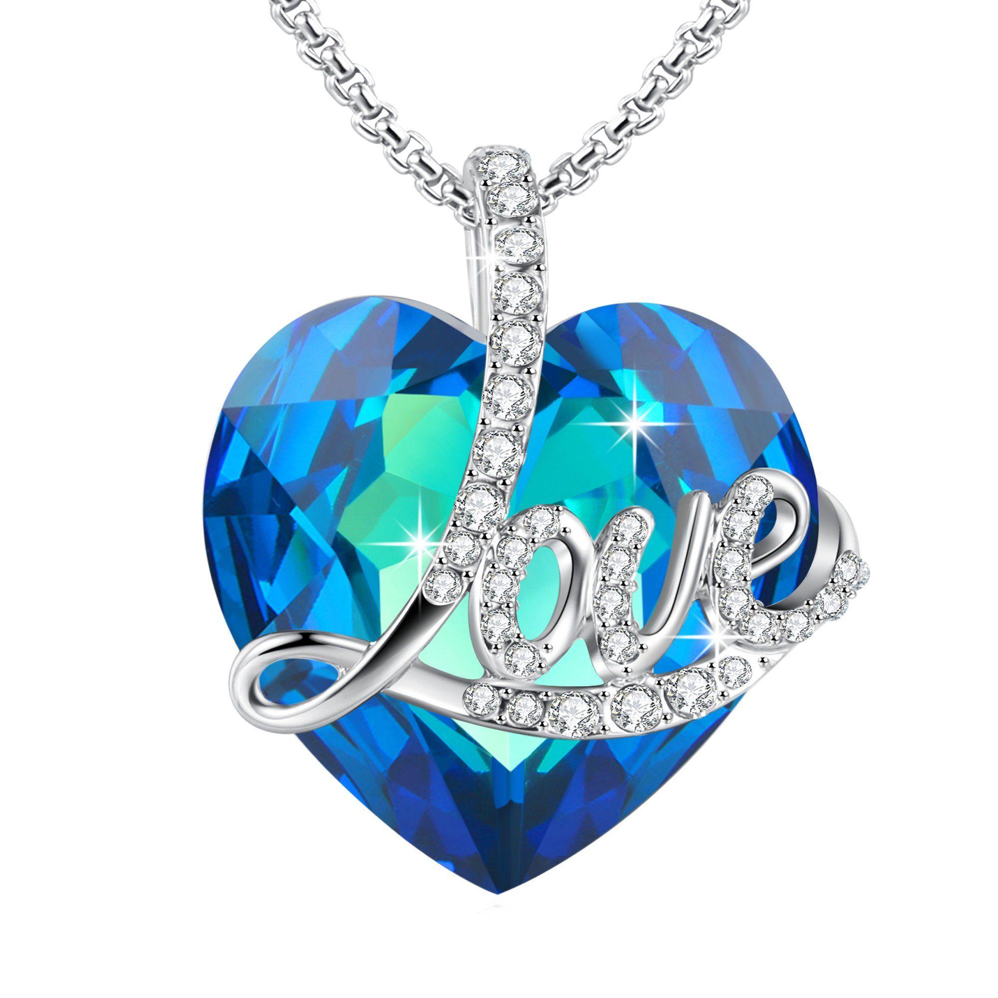 AngeladyBlue Love Heart Pendant Necklace of Swarovski