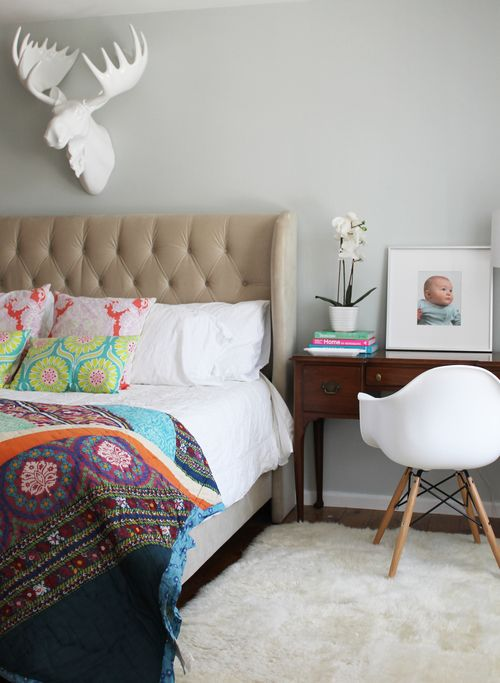 Master Bedroom Paint Benjamin Moore Silver Crest Anthropologie Quilt Eames Chair
