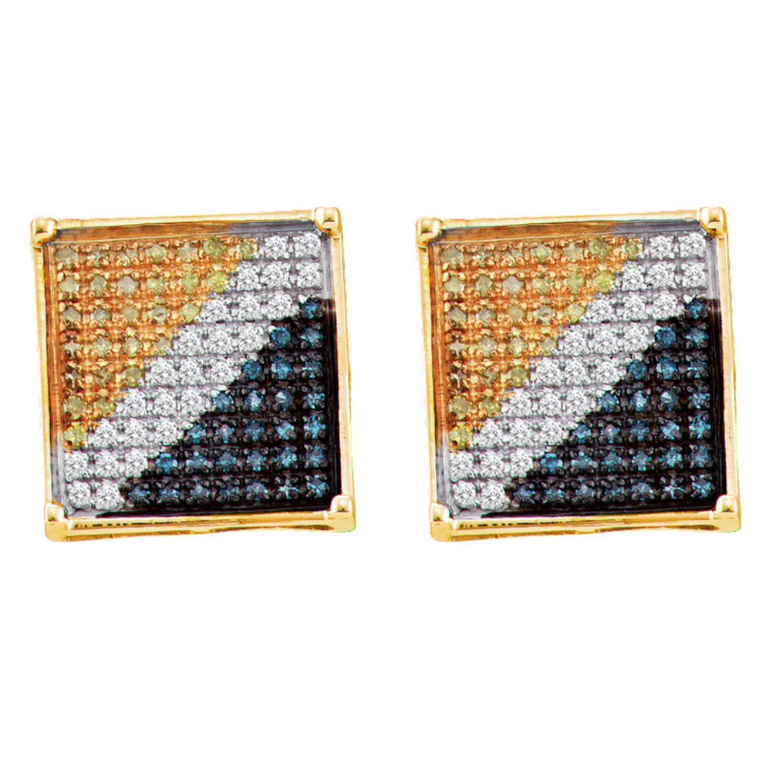 Mens La s Yellow Gold Pave Multi Color Kite Diamond Stud Earrings