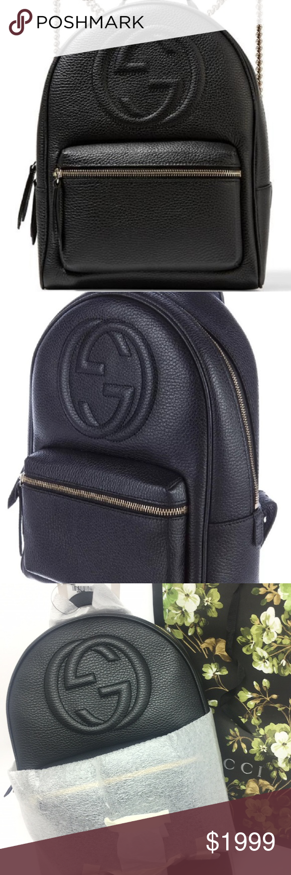a20146bd4 Gucci #536192 Soho Leather Gold Chain Backpack - Black Textured Leather -  Classic Gucci GG
