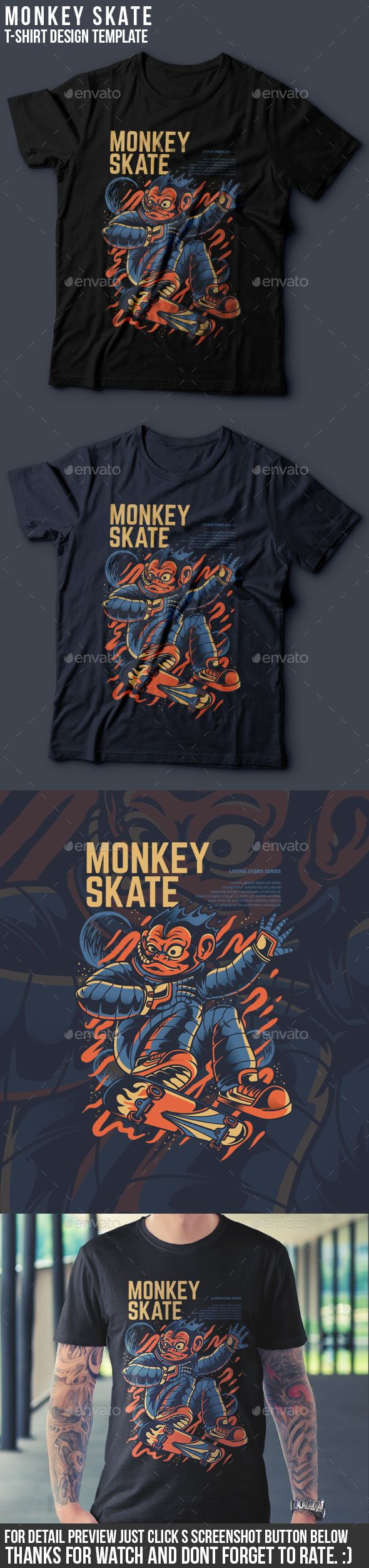 b815a8d3 Monkey Skate T-Shirt Design - Funny Designs. Monkey Skate TShirt Design # unique #design Download ...