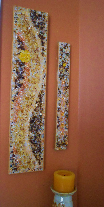 Broken glass art set via etsy diy pinterest for Broken glass crafts