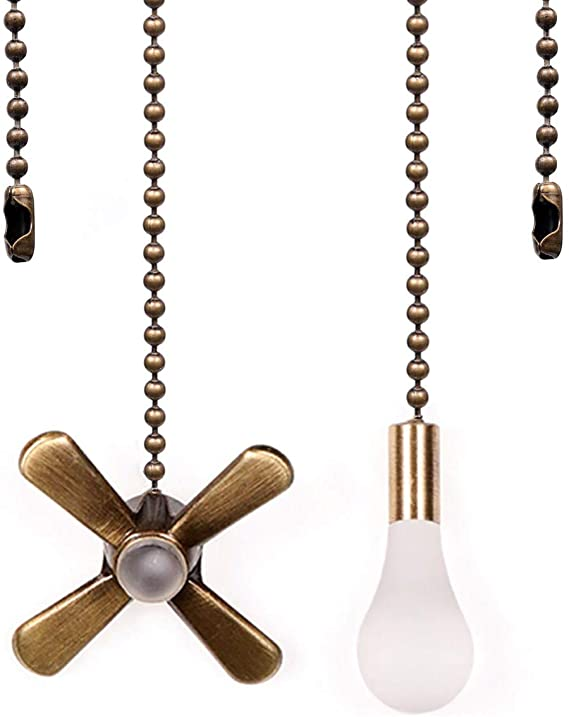 Ceiling Fan Pull Chain, 13.6 Inches Fan Pulls Set with Connector, 2 Pack 3mm Diameter Beaded Ball Fan Pull Chain (Nickel)