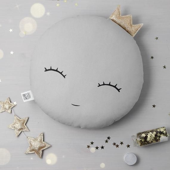 White or Gray Sleepy eyes Crown Moon Pillow Moon cushion for baby nursery pillow kids room decor neutral gender baby shower gift for newborn #greatnames