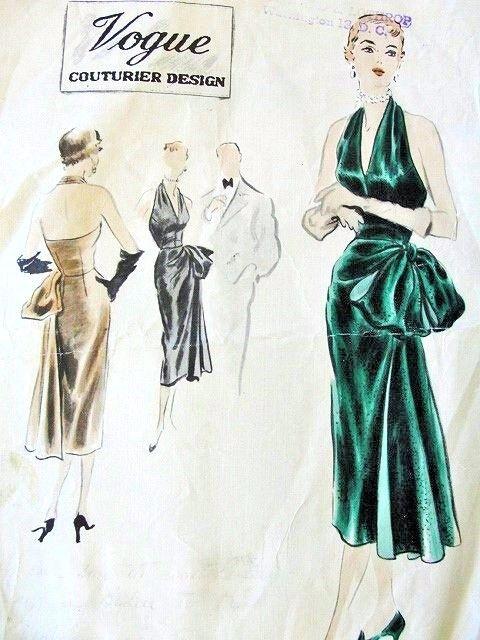 1950s STUNNING Evening Dress Pattern VOGUE COUTURIER DESIGN 588 ...