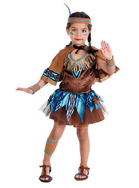 Indianerin-Kostüm für Mädchen - süßes Faschingskostüm für Kinder in braun-blau #apache #nativeamerican #little #girl #child #mädchen #kind #kostüm #verkleidung #braun #kleid #kleidchen #indianer #indianermädchen #indianergirl #western #fasching #karneval #verkleiden