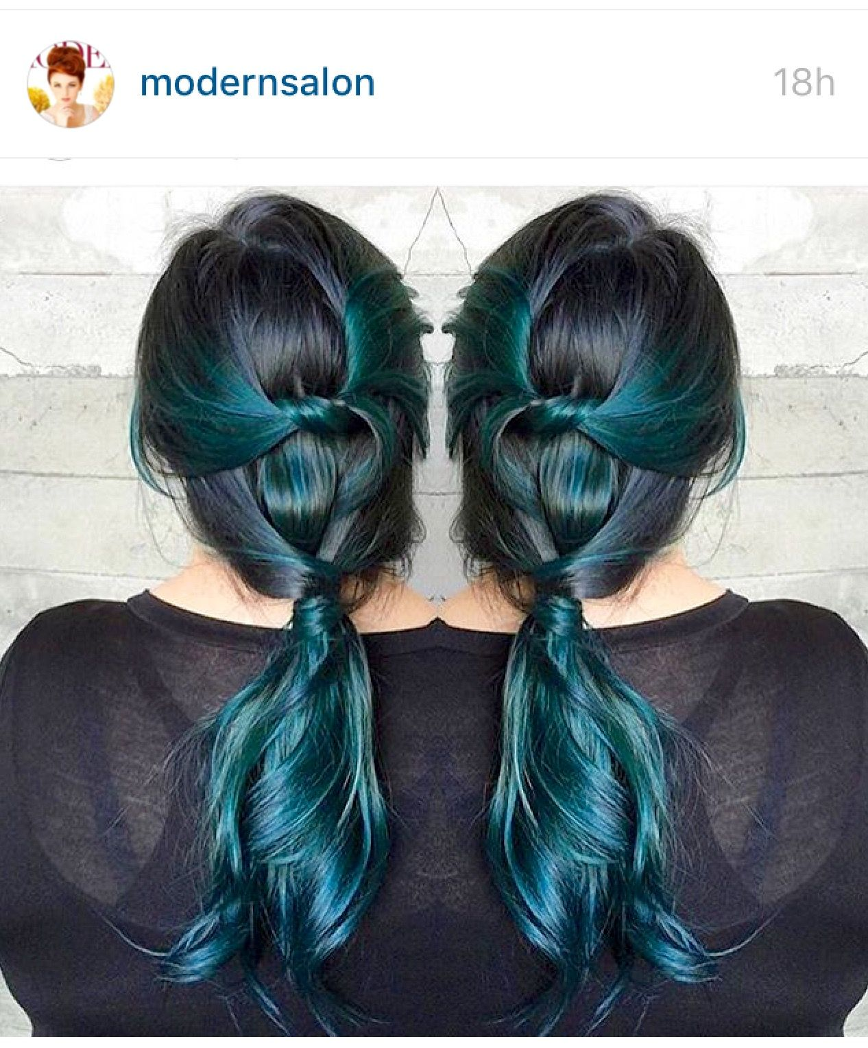 Beautiful Dark Hair With Teal Green Highlights The Beauty Of Long