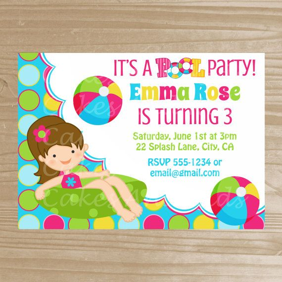 Pool Party Invitation - Pool Party Printable Invite for Girls - pool party invitation