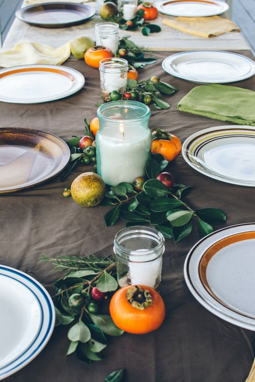 Another take on our dreamy Thanksgiving table, with strawberry guava, persimmon, rosemary, and Meyer lemon.
