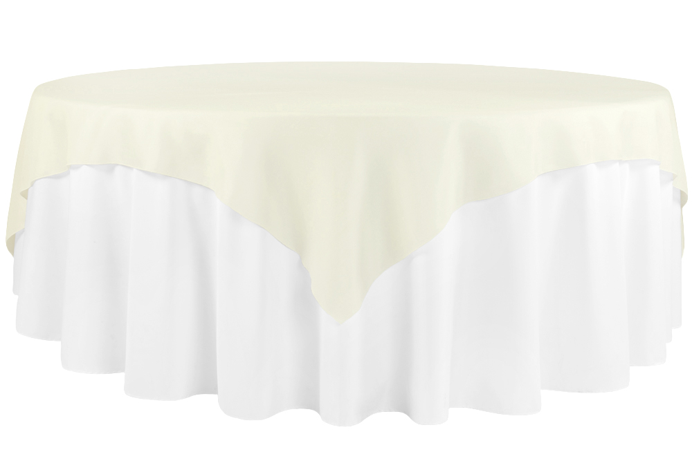 Faux Burlap Table Overlay Topper Tablecloth 85 X85 Square Ivory