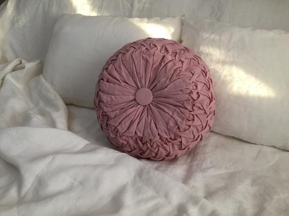 Linen Pillow VARIOUS COLORS 100% linen Luxury cushion Round pillow linen Bedding Cushion linen euro linen Gift bed linen Home decor