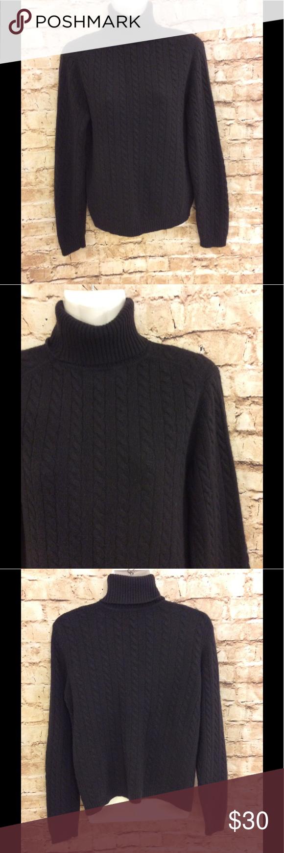 Ann Taylor 100% cashmere black turtleneck sweater | Cashmere