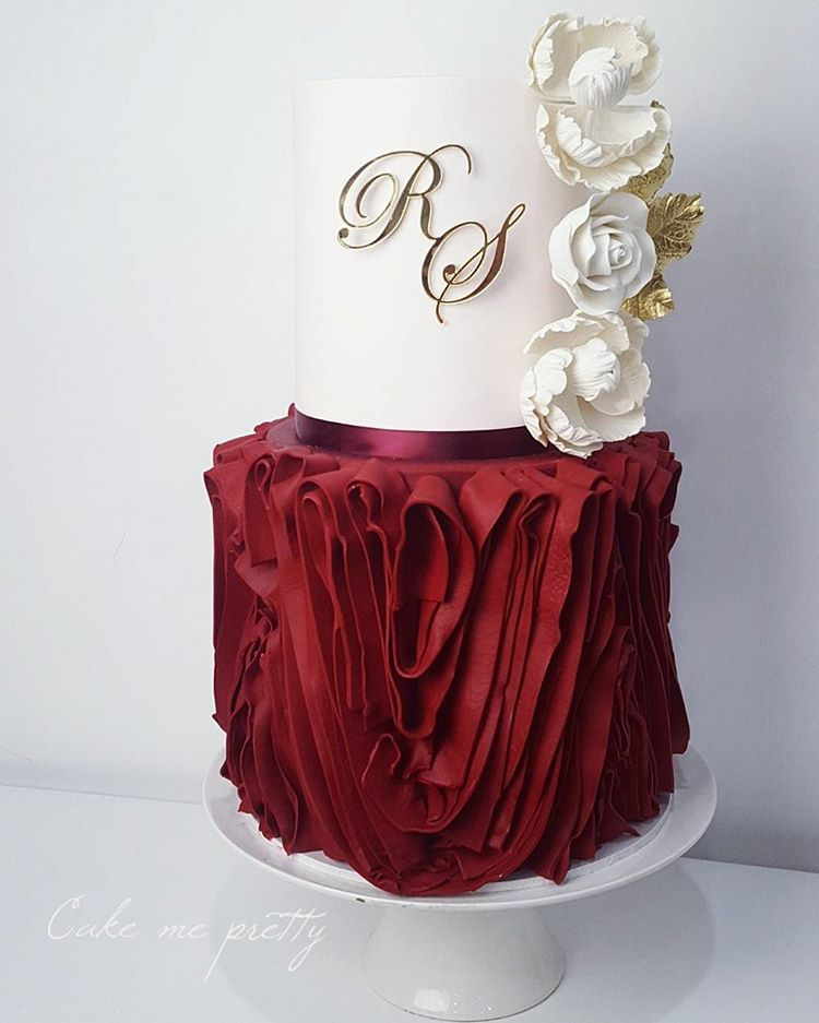 ❤❤❤ #ruffles #maroon #cake #topper #by @lettersbyloulou