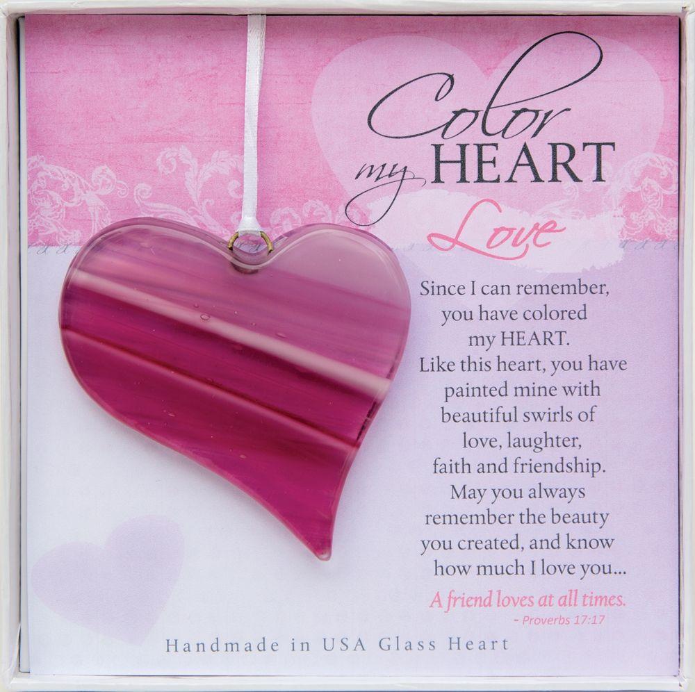 Christian gift handmade glass heart w proverbs