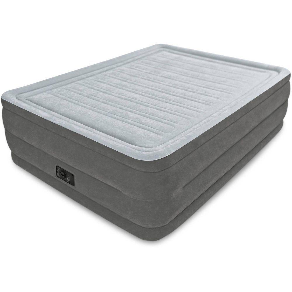 Intex Comfort Plush High Rise Dura Beam Air Bed w// Built-In Pump Queen Used