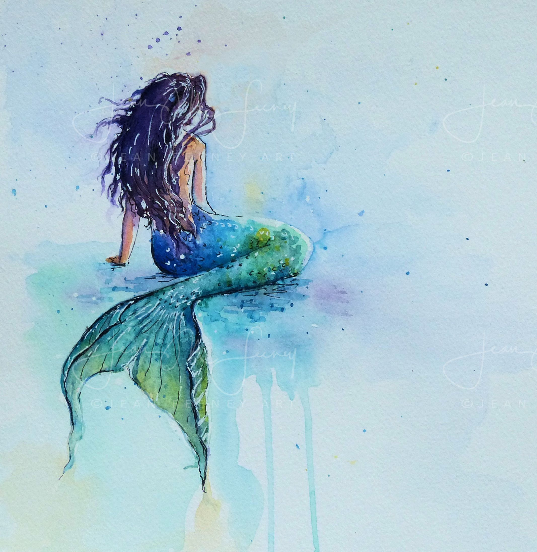 Unframed Print Of Mermaid For Mermaid Lovers And Any Room And Good For Child Or Nursery Too From Original Mermaid Artwork Mermaid Drawings Mermaid Painting