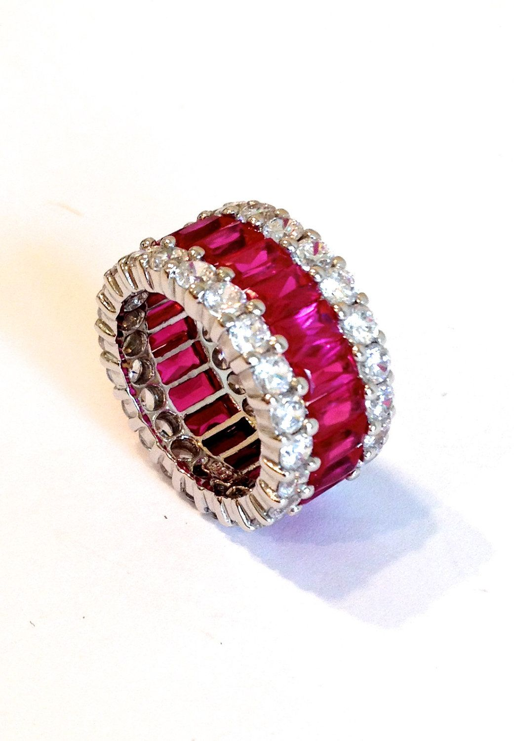 Vintage Sterling Silver Pink Sapphire Three Row Eternity