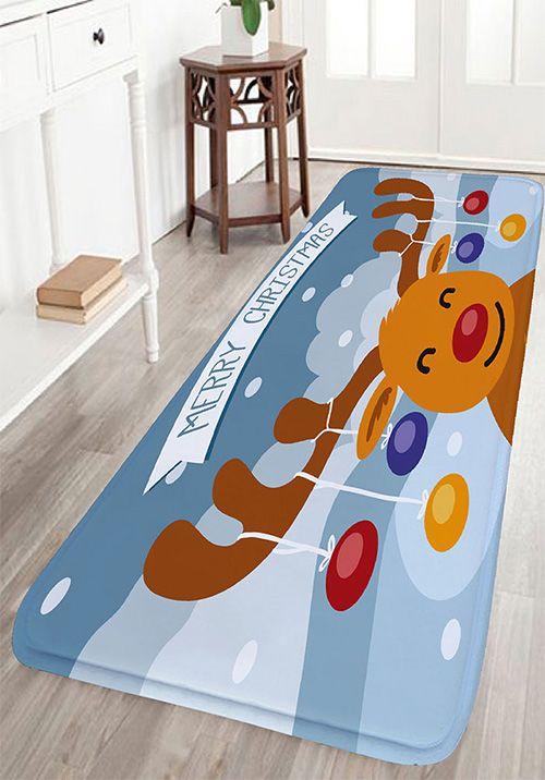 Christmas Cartoon Deer Print Flannel Skidproof Bath Mat - Quality bath mats for bathroom decorating ideas