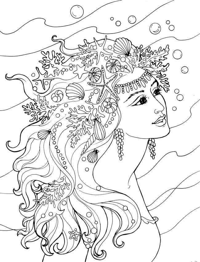 adult mermaid coloring pages wwwimgkidcom the image