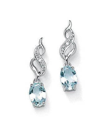 These alluring pierced earrings showcase oval-cut aquamarine gemstone drops (.82 carat T.W.). Each earring is enhanced with a sparkling round diamond accent. Set in platinum over sterling silver. (Carat weight may vary by plus or minus 5% of stated carat weight.) lanebryant.com $99
